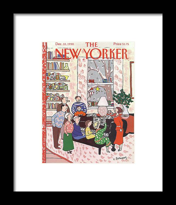 (a Family Gathers Around A Piano As They Sing Christmas Carols.) Entertainment Framed Print featuring the painting New Yorker December 10th, 1990 by Devera Ehrenberg