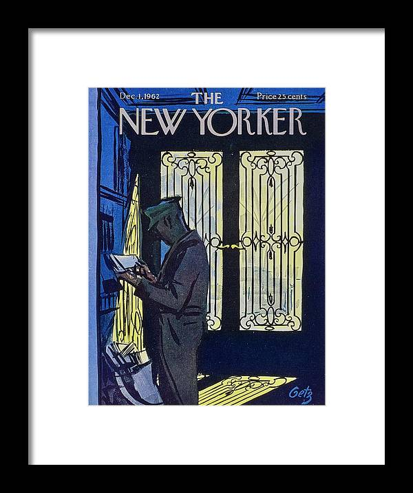 Illustration Framed Print featuring the painting New Yorker December 1st 1962 by Arthur Getz
