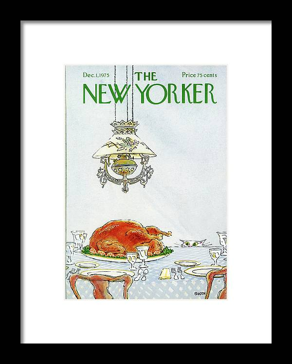 Turkey Framed Print featuring the painting New Yorker December 1st, 1975 by George Booth