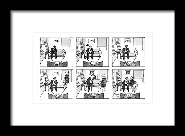 (six-panel Drawing Of Man Watching T.v. Framed Print featuring the drawing New Yorker December 1st, 1986 by Joseph Farris