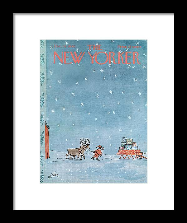 William Steig Wst Santa Claus Chris Kris Kringle Saint St Nick Christmas Xmas Holiday Reindeer Deer Sled Sleigh Snow Snowing Eve Present Presents Gift Gifts Toy Toys Sumnerok William Steig Wst Artkey 49920 Framed Print featuring the painting New Yorker December 24th, 1966 by William Steig