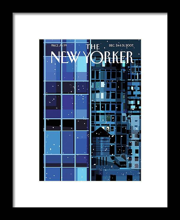 Urban Framed Print featuring the painting New Yorker December 24th, 2007 by Kim DeMarco