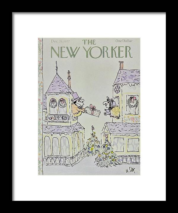 Illustration Framed Print featuring the painting New Yorker December 26th 1977 by William Steig