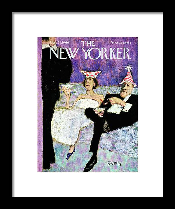 (a Formally Dressed Couple With New Year's Eve Hats On Framed Print featuring the painting New Yorker December 31st, 1966 by Charles Saxon