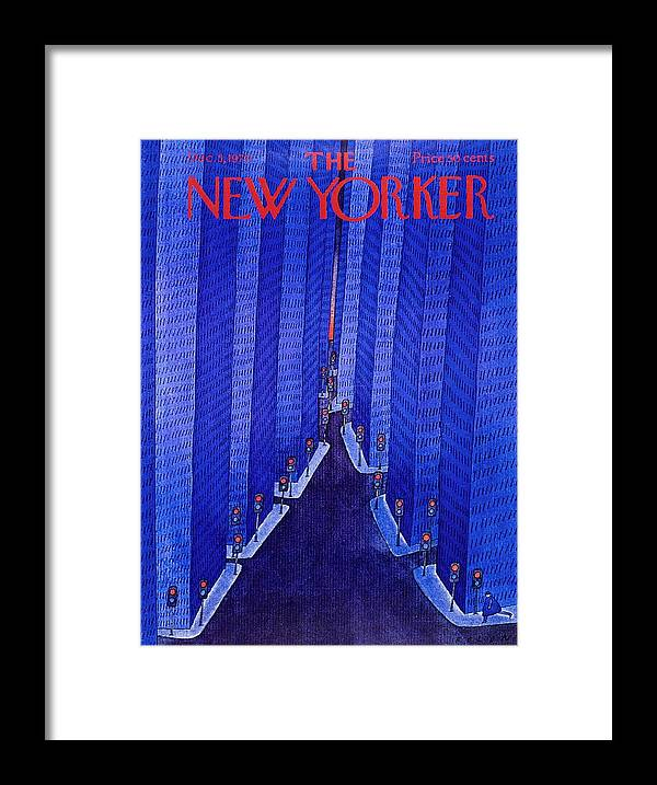 Illustration Framed Print featuring the painting New Yorker December 5th 1970 by Jean-Michel Folon