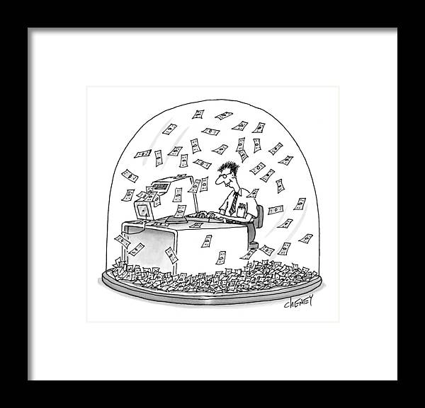 Snow Globes Framed Print featuring the drawing New Yorker December 6th, 1999 by Tom Cheney