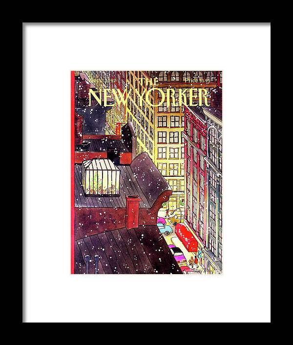 A Birds-eye View Of A Busy Shopping Evening Downtown. Snow Begins To Fall On The Rooftops Where One Sunroof Is Illuminated By A Crowd Gathered Around A Christmas Tree. Framed Print featuring the painting New Yorker December 7th, 1992 by Roxie Munro