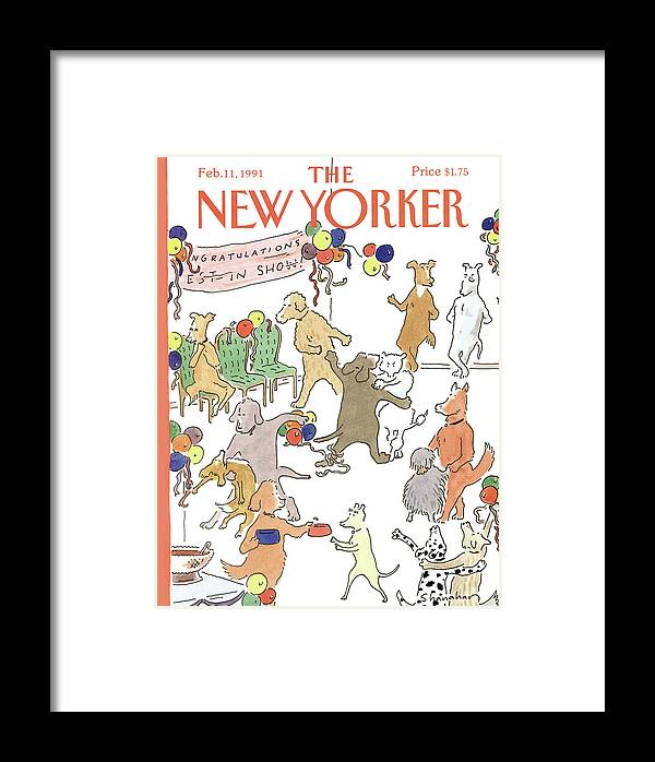 Dogs Of All Kinds Mingle At A Dance Framed Print featuring the painting New Yorker February 11th, 1991 by Danny Shanahan