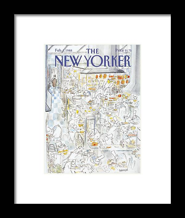 Restaurant Framed Print featuring the painting New Yorker February 1st, 1988 by Jean-Jacques Sempe