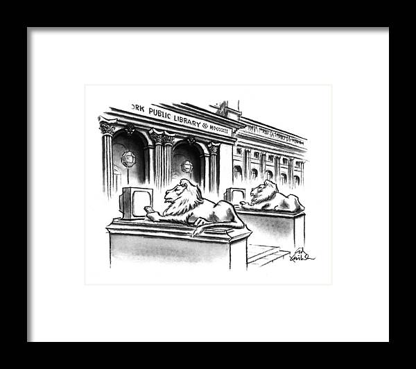(two Lion Statues On The Steps Of The New York Public Library Are Depicted Holding Remote Controls And Watching Tv) Leisure Framed Print featuring the drawing New Yorker February 1st, 1993 by Ed Fisher