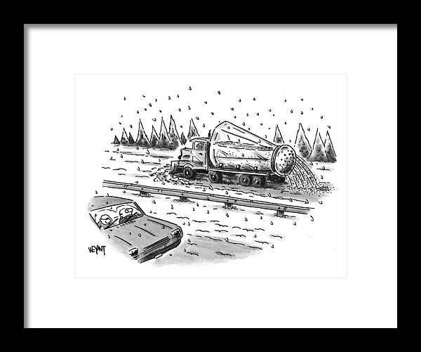 Winter Framed Print featuring the drawing New Yorker February 22nd, 1999 by Christopher Weyant