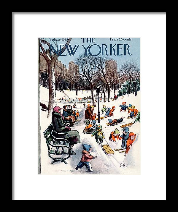 New York City Framed Print featuring the painting New Yorker February 26th, 1955 by Arthur Getz