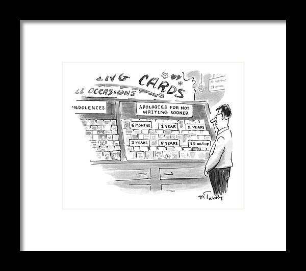 Consumerism Framed Print featuring the drawing New Yorker February 3rd, 1997 by Mike Twohy