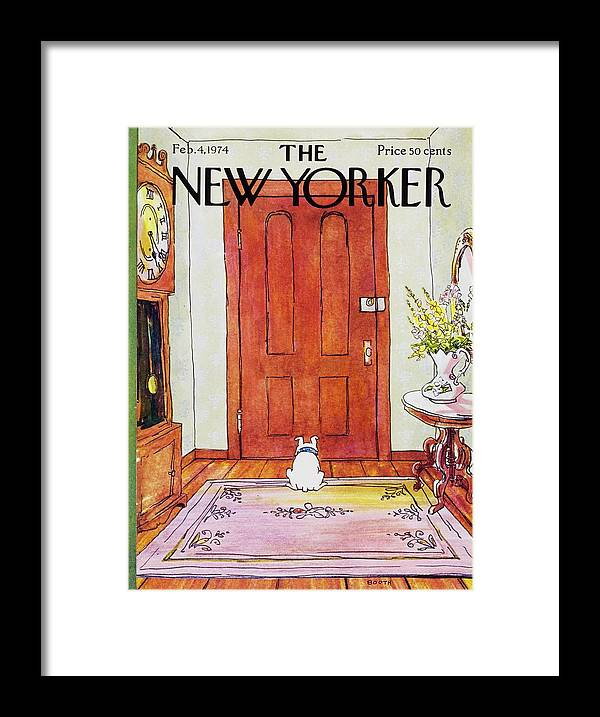 Illustration Framed Print featuring the painting New Yorker February 4th 1974 by George Booth