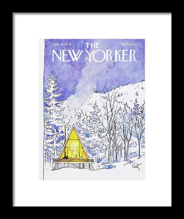 Illustration Framed Print featuring the painting New Yorker February 6th 1978 by Arthur Getz