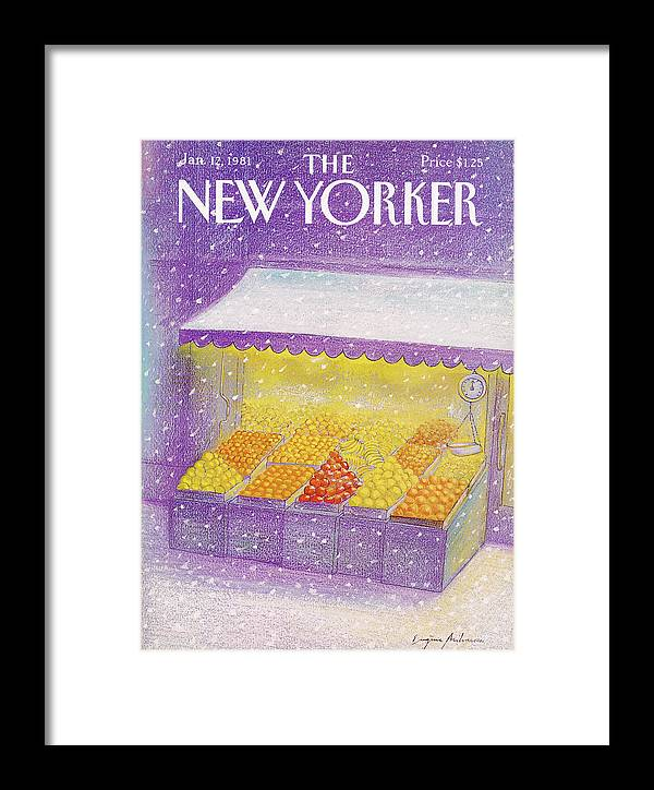 Season Framed Print featuring the painting New Yorker January 12th, 1981 by Eugene Mihaesco