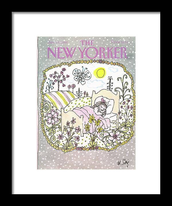 Nature Family Children Dreams Winter William Steig Wst Artkey 47246 Kids Room Framed Print featuring the painting New Yorker January 13th, 1986 by William Steig
