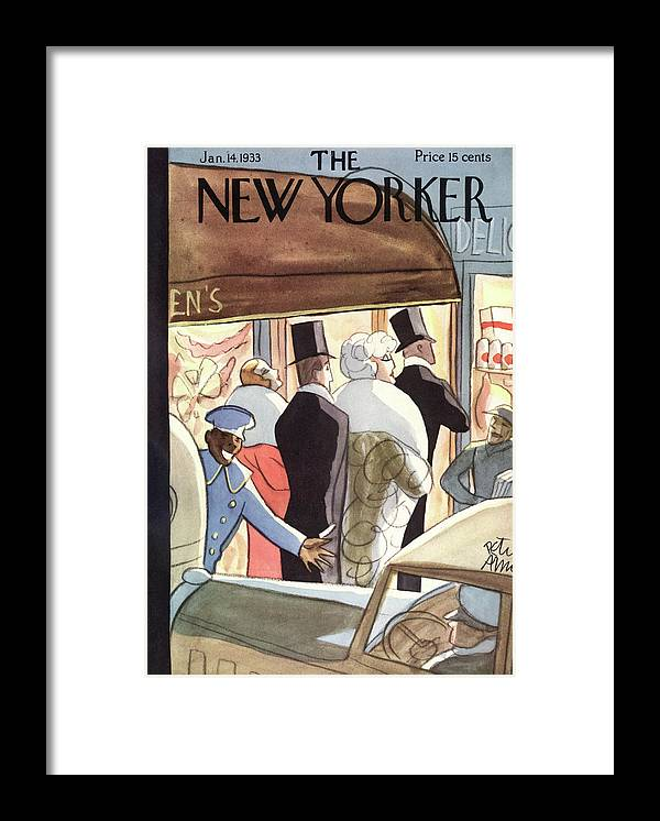 Evening Framed Print featuring the painting New Yorker January 14th, 1933 by Peter Arno