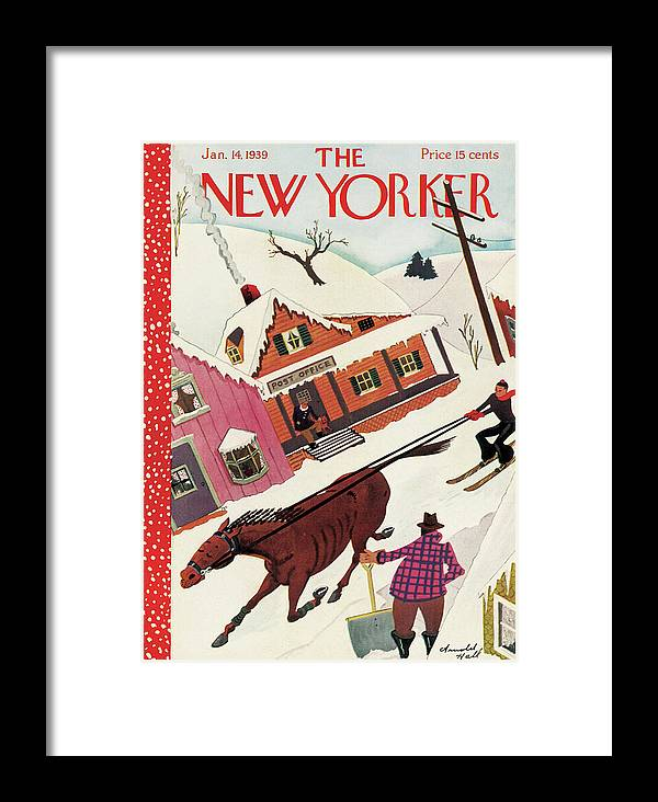 Horse Mare Horses Animal Snow Winter Ski Skiing Post Office Shovel Town Small Arnold Hall Ahl Arnold Hall Ahl Artkey 48628 Framed Print featuring the painting New Yorker January 14th, 1939 by Arnold Hall