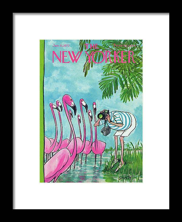 Animals Framed Print featuring the painting New Yorker January 15th, 1972 by Charles Saxon