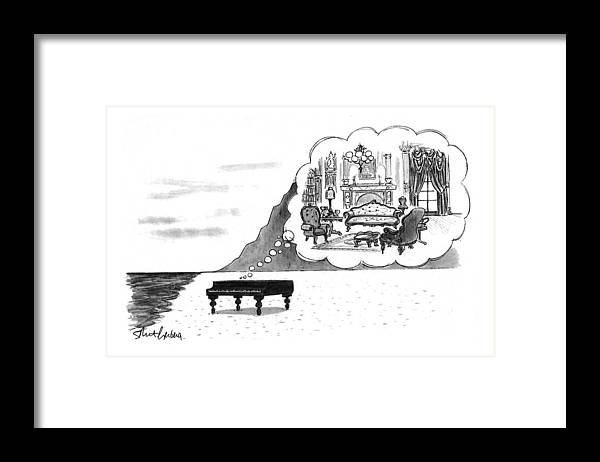 (the Piano On A Desolate Beach Wishing It Was In A Nice Parlor.)  No Caption Piano On Beach Has Mental Image Of Comfortable Victorian Parlor. Refers To Jane Campion's Film  Framed Print featuring the drawing New Yorker January 24th, 1994 by Mort Gerberg
