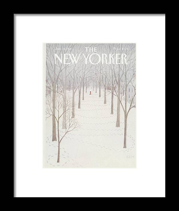 Season Framed Print featuring the painting New Yorker January 26th, 1981 by Charles E Martin