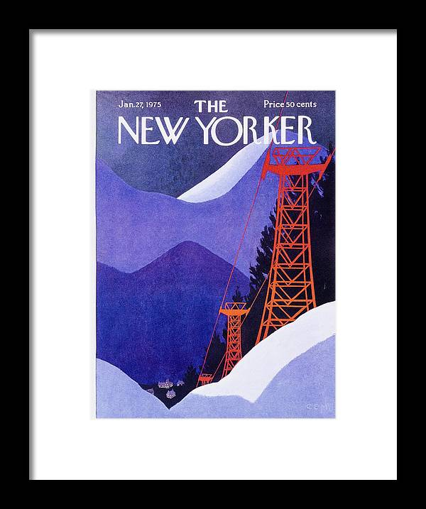 Illustration Framed Print featuring the painting New Yorker January 27th 1975 by Charles Martin