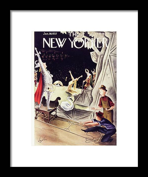 Theater Framed Print featuring the painting New Yorker January 30 1937 by Constantin Alajalov