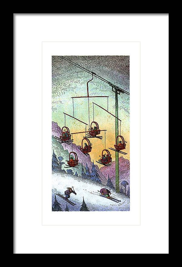 No Caption Two Column Color Spread Of A Chair Lift In The Shape Of A Mobile. Two Skiers Are On The Ground.  No Caption Two Column Color Spread Of A Chair Lift In The Shape Of A Mobile. Two Skiers Are On The Ground.  Art Framed Print featuring the drawing New Yorker January 30th, 1995 by John O'Brien