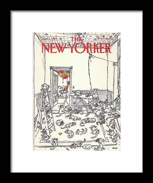 Holiday Framed Print featuring the painting New Yorker January 5th, 1981 by George Booth