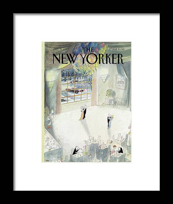New Year Framed Print featuring the painting New Yorker January 5th, 1987 by Jean-Jacques Sempe