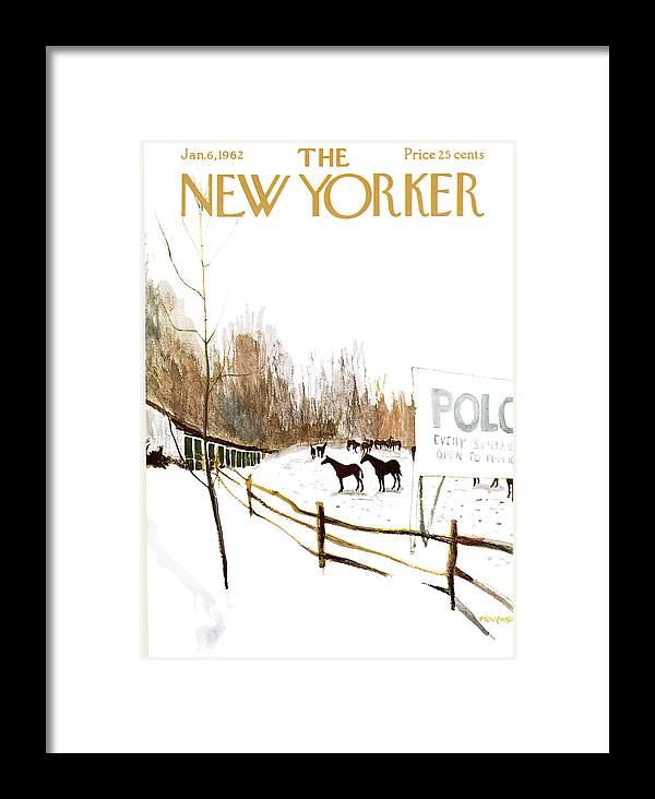 Suburb Country Outdoors Community Town Small Suburban Quaint Village Sport Sports Horse Horses Polo Snow Winter Snowing Jst James Stevenson Sumnerok James Stevenson Jst Artkey 49692 Framed Print featuring the painting New Yorker January 6th, 1962 by James Stevenson