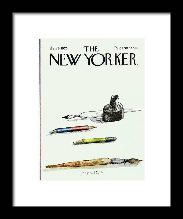 Saul Steinberg 50268 Steinbergattny Framed Print featuring the painting New Yorker January 6th, 1975 by Saul Steinberg