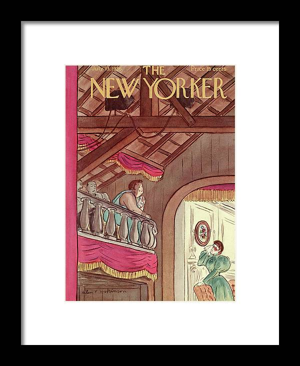 Theater Play Broadway Actor Actress Player Set Stage Playhouse Hall Entertainment Balcony Tear Tears Emotion Emotional Cry Sad Moving Touching Performance Helen E. Hokinson Hho Artkey 48459 Framed Print featuring the painting New Yorker July 13th, 1935 by Helen E. Hokinson