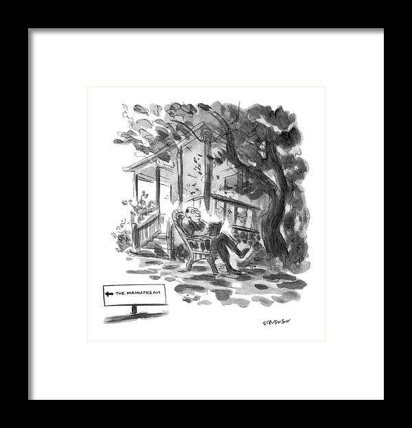 (middie-aged Man In Rocking Chair Reading Book In Country Setting. Sign In Front Of House Reads Framed Print featuring the drawing New Yorker July 21st, 1975 by James Stevenson
