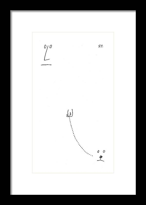 115356 Sst Saul Steinberg (face And Hand Of A Man Walks The Face Of A Dog.) Animals Best Canines Dog Doggie Dogs Face Friend Hand Invisible Man Man's Pet Pets Pooch Puppies Puppy Walk Walking Walks Framed Print featuring the drawing New Yorker July 31st, 1954 by Saul Steinberg