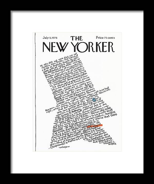 Calligraphy Framed Print featuring the painting New Yorker July 5th, 1976 by Lou Myers