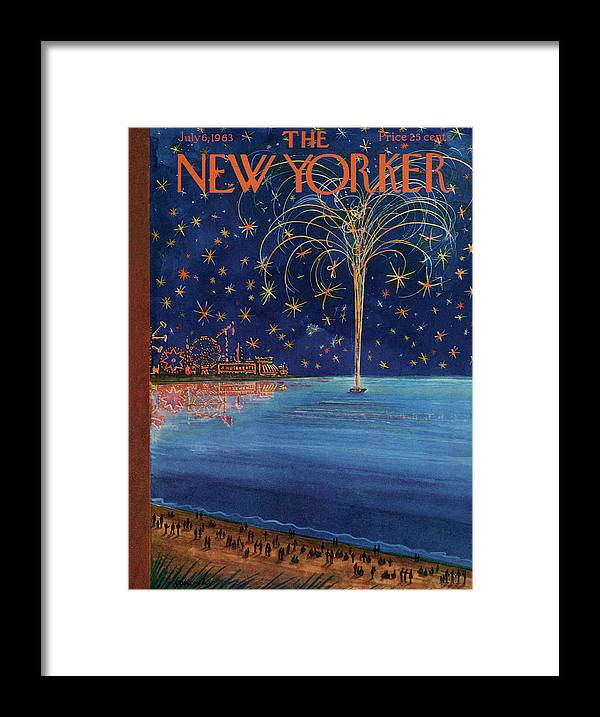 July Fourth Framed Print featuring the painting New Yorker July 6th, 1963 by Anatol Kovarsky