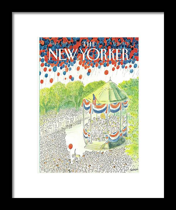 United States Framed Print featuring the painting New Yorker July 6th, 1987 by Jean-Jacques Sempe