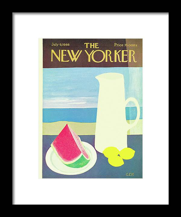 (an Image Of A Pitcher With Lemons Beside It Framed Print featuring the painting New Yorker July 9th, 1966 by Charles E. Martin