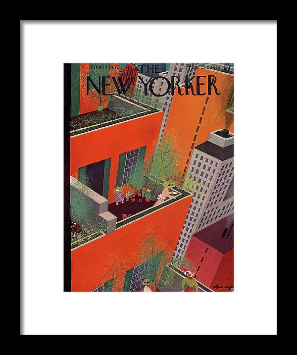 Manhattan Framed Print featuring the painting New Yorker June 12, 1937 by Adolph K Kronengold