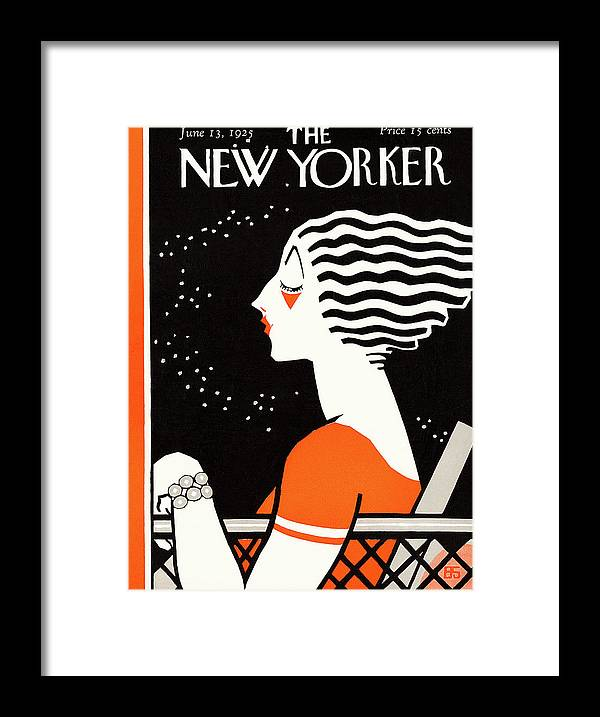 Night Framed Print featuring the painting New Yorker June 13th, 1925 by Barbara Shermund