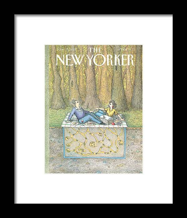 A Couple Enjoy A Romantic Picnic Framed Print featuring the painting New Yorker June 15th, 1992 by John O'Brien