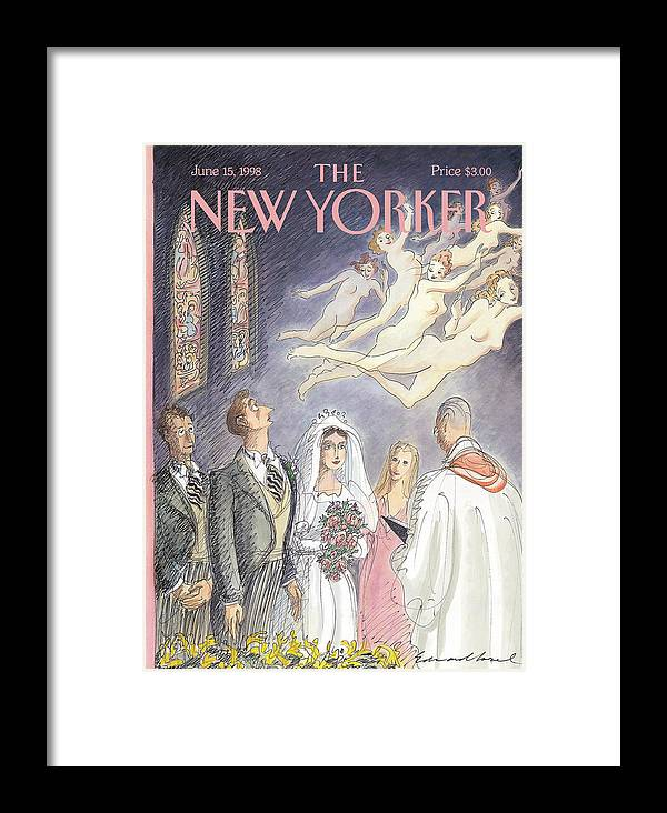 And Forsaking All Others Artkey 50947 Eso Edward Sorel Framed Print featuring the painting New Yorker June 15th, 1998 by Edward Sorel