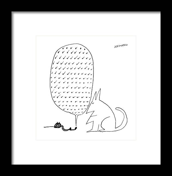 83132 Sst Saul Steinberg (a Cat Listens To A Telephone Receiver That Is Off The Hook And Emitting A Series Of Check Marks.) Animals Cat Cats Check Communication Emitting Feline Felines Hook Listens Marks Off Pet Pets Phones Receiver Series Symbols Telecommunications Telephone Framed Print featuring the drawing New Yorker June 18th, 1966 by Saul Steinberg