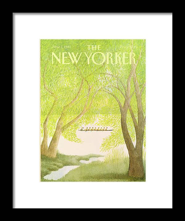 Education Framed Print featuring the painting New Yorker June 1st, 1981 by Charles E Martin