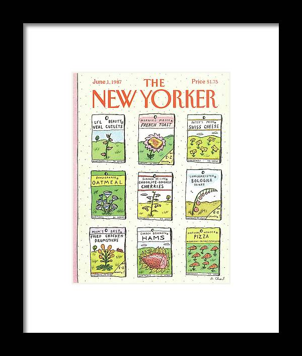 Dining Framed Print featuring the painting New Yorker June 1st, 1987 by Roz Chast