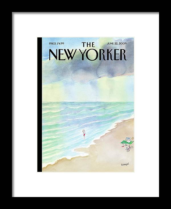 130906 Jean-jacques Sempe Jse Beach Framed Print featuring the painting New Yorker June 22nd, 2009 by Jean-Jacques Sempe