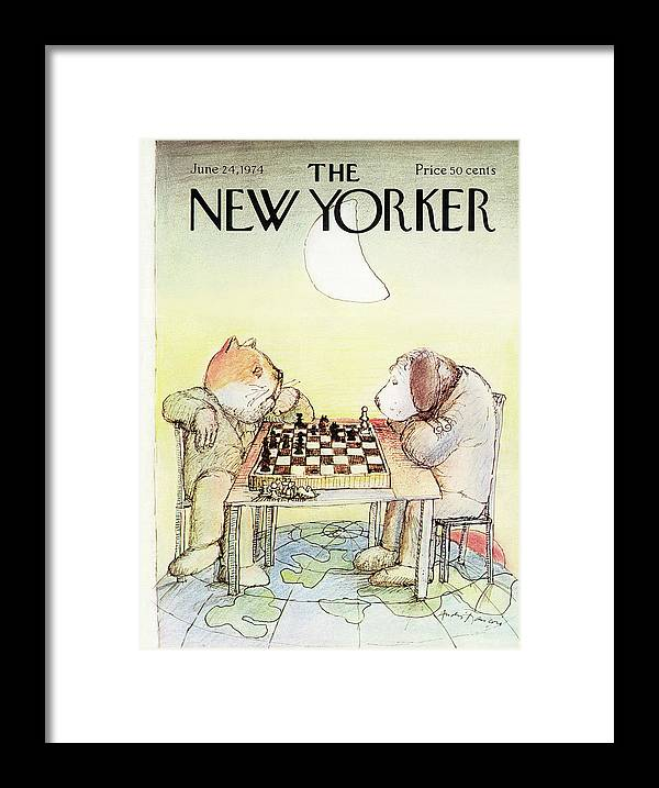 Cat Framed Print featuring the painting New Yorker June 24th, 1974 by Andre Francois