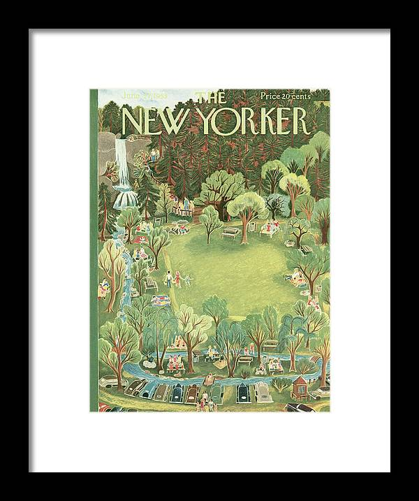 Park Framed Print featuring the painting New Yorker June 27th, 1953 by Ilonka Karasz